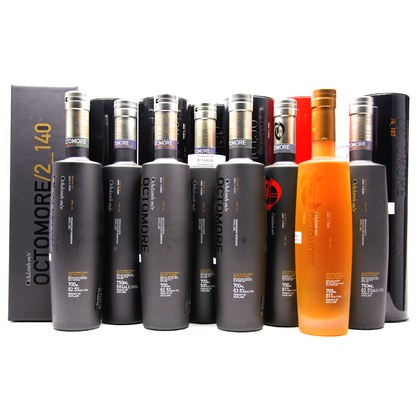 Bruichladdich Octomore ultimatives Sammlerset besteht aus 8 Abfllungen alle in Tube / Geschenkpackung verschiedene %Vol 5,70 Liter/ 61.37% Vol