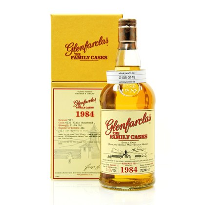 Glenfarclas Vintage The Family Casks Jahrgang 1984 Cask Strength Cask 6030 in Präsentbox mit Booklet 0,70 Liter/ 51.00% Vol