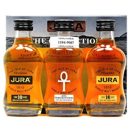 Isle of Jura The Collection Set besteht aus 3 x 0,05l / 10; 16 y.o. je 40%Vol. & Superstition 43%Vol. in Prsentverpackung 0,150 Liter/ 41.00% Vol