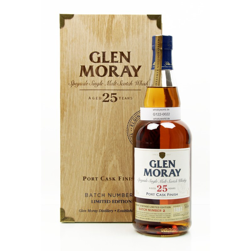 Glen Moray 25 Jahre Port Cask finish Batch Number 2 mit Zertifikat 0,70 L/ 43.00%