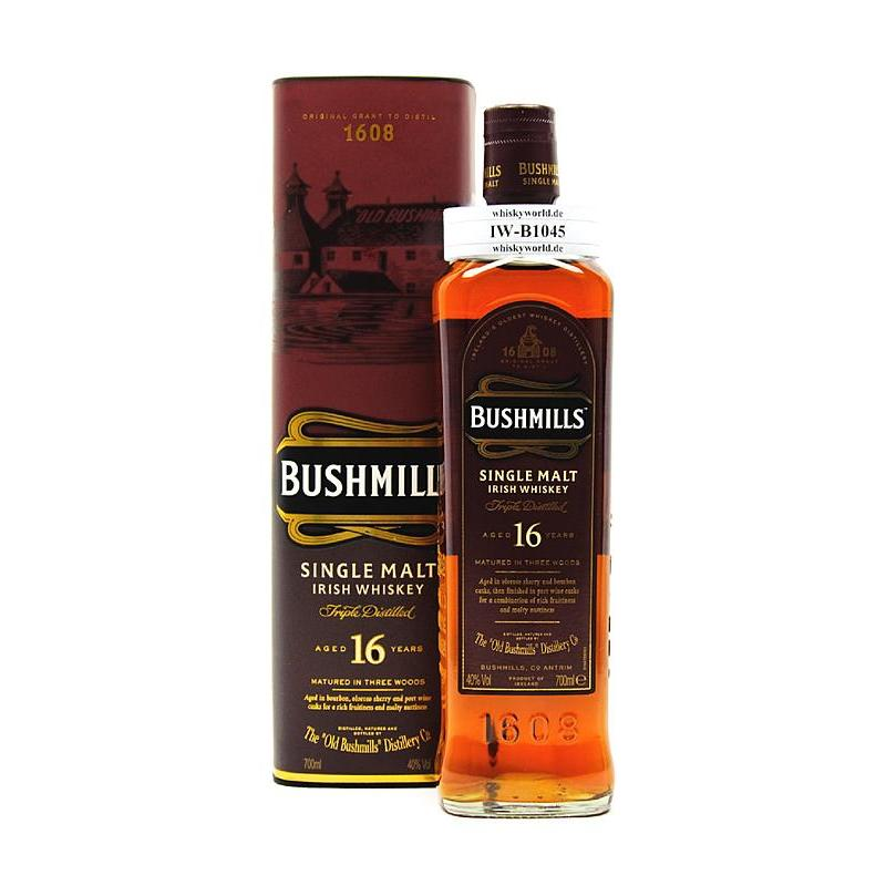Bushmills 16 Jahre Single Malt Three Woods in Tube