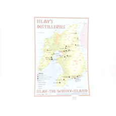 Alba-Collection Verlag Tasting Map Islay im Format 34 x 24 cm zeigt Islay mit den acht aktiven Destillerien, Port Ellen Maltings und 19 Lost Destillerien. Produktbild