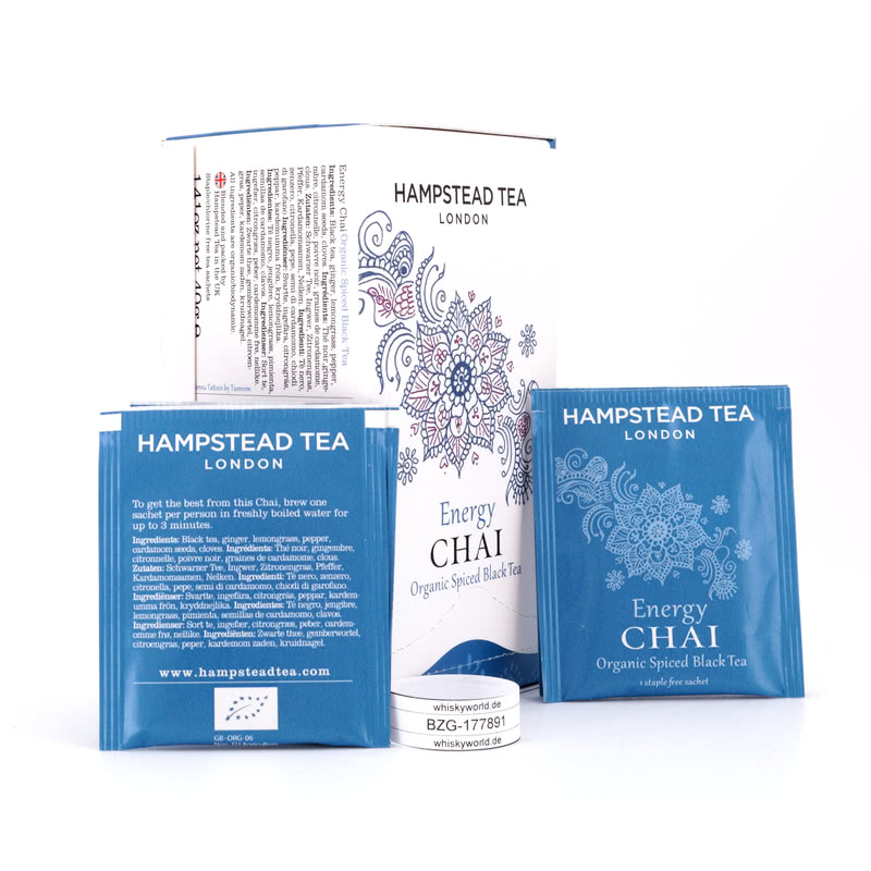 Hampstead Tea BIO Organic Energy Chai Spiced Black Tea 20 Teebeutel Gewürzter 40 g