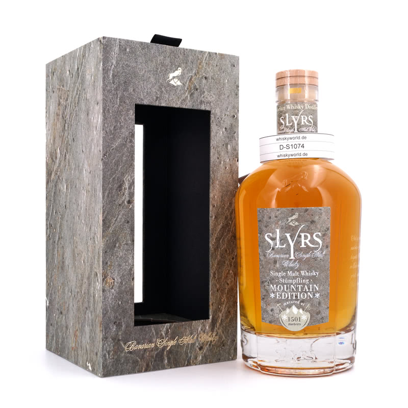 Slyrs Stümpfling Mountain Edition Single Malt Flasche mit Echtstein Applikation 0,70 L/ 50.10%