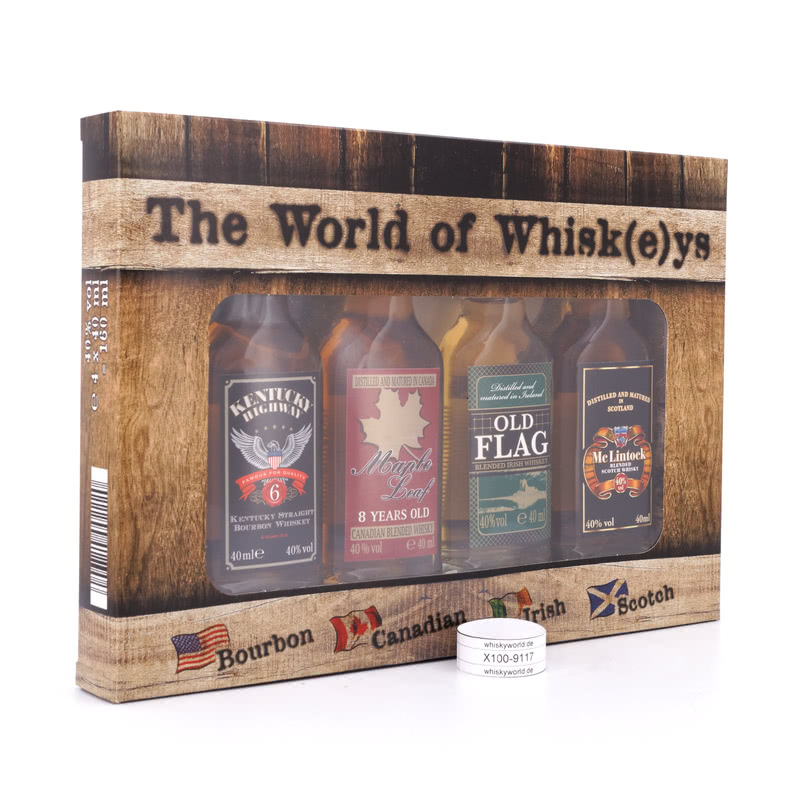 Pabst & Richarz The World of Whisk(e)ys Miniatur je 4cl Bourbon, Canadian, 0,160 L/ 40.00%